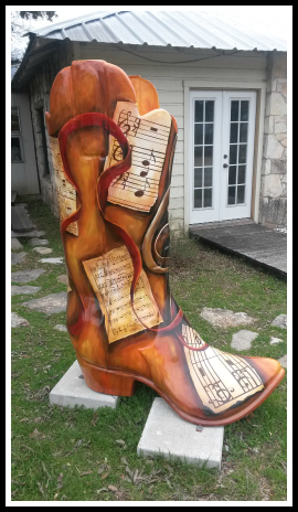 This boot is set in front of the Wimberley Pie Co. (If you ever go, you must try the fudge pie. Yummy!) Fun fact: Austin, TX is considered the music capital of the world.